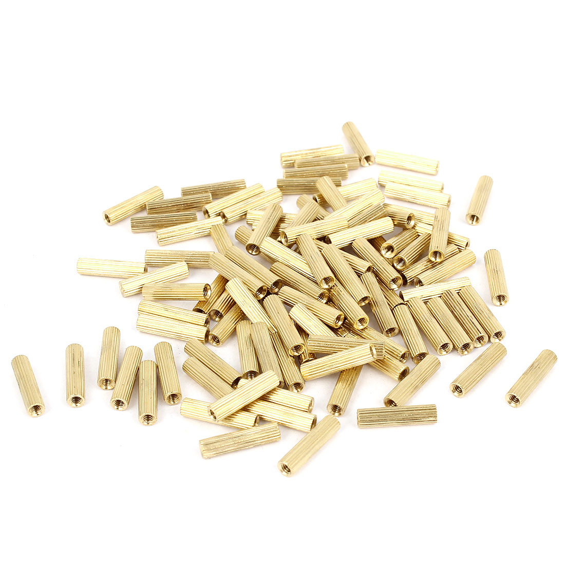 M2x13mm Cylinder Female Threaded Brass Standoff Spacer Pillars 100 Pcs
