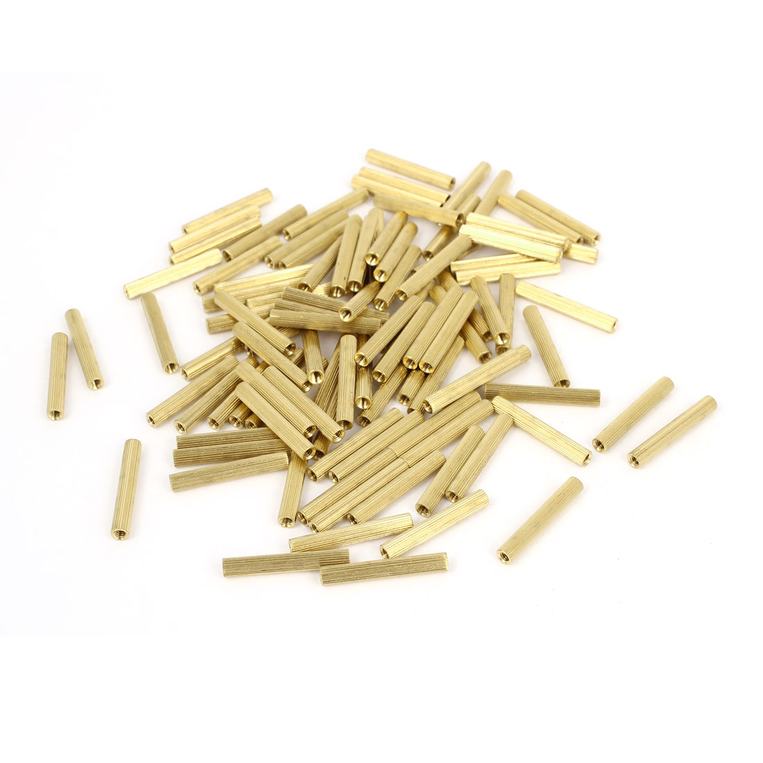 100 Pcs Female Threaded Pillars Brass Standoff Spacer Gold Tone M2x21mm