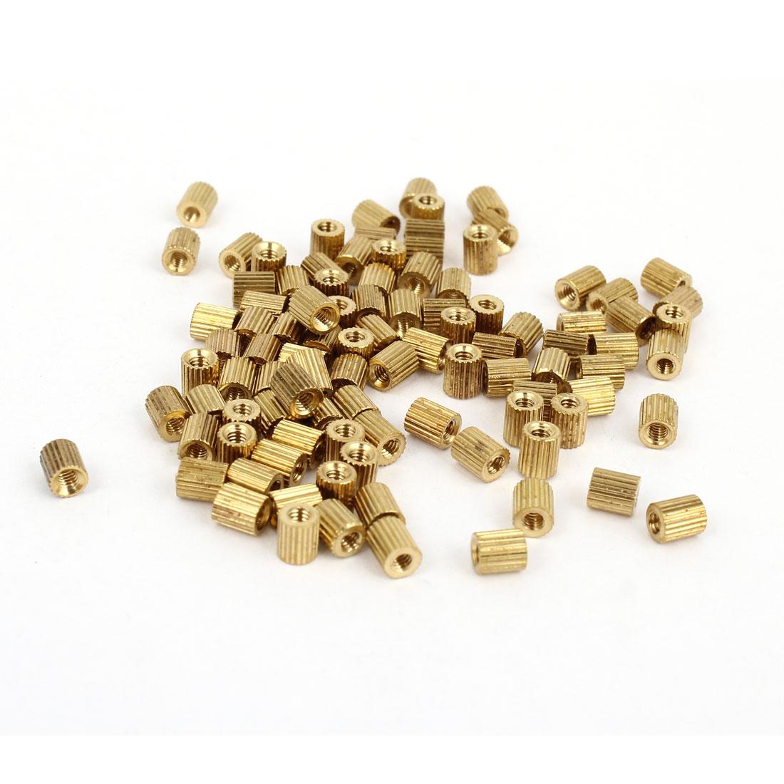 Female Threaded Pillars Brass Standoff Spacer Gold Tone M2x4mm 100 Pcs