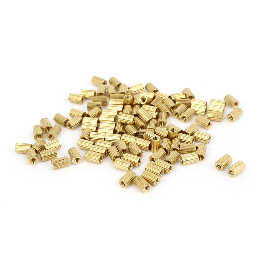 100 Pcs Female Threaded Pillars Brass Standoff Spacer Gold Tone M2x5mm