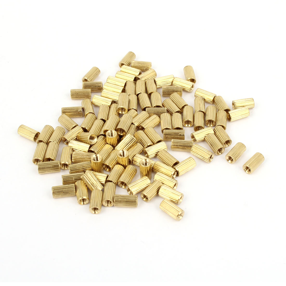 Brass Cylinder Female Threaded Standoff Spacer Pillars Gold Tone M2x6mm 100 Pcs