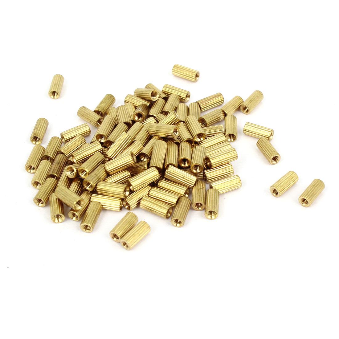100 Pcs Female Threaded Pillars Brass Standoff Spacer Gold Tone M2x7mm