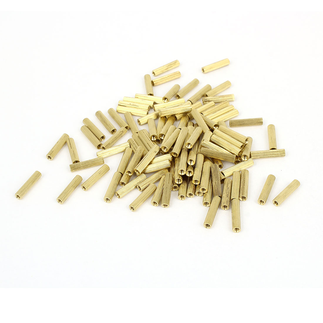 M2x14mm Cylinder Female Threaded Brass Standoff Spacer Pillars 100 Pcs