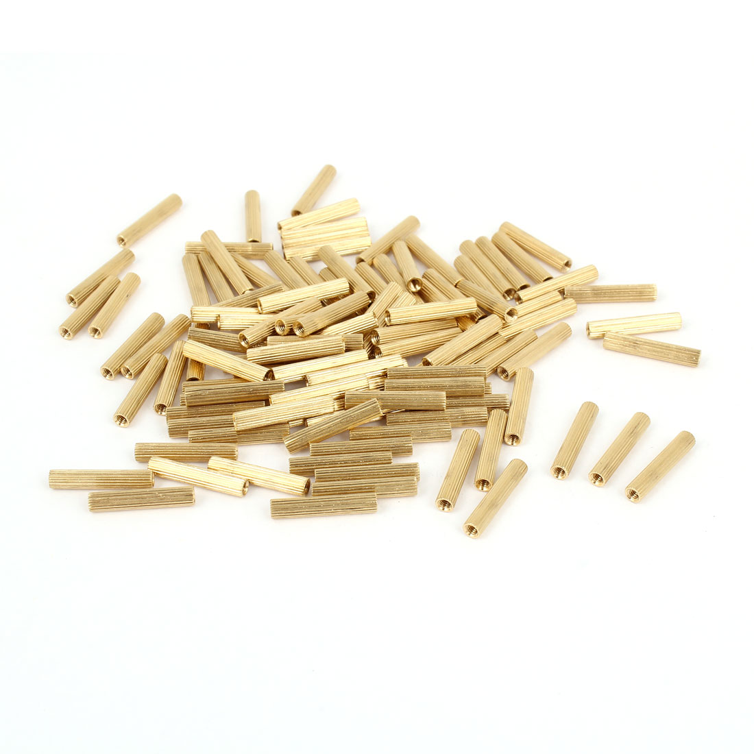 100 Pcs Female Threaded Pillars Brass Standoff Spacer Gold Tone M2x16mm