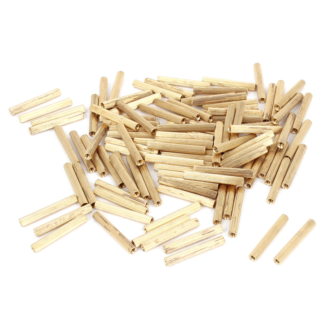 100 Pcs Female Threaded Pillars Brass Standoff Spacer Gold Tone M2x22mm