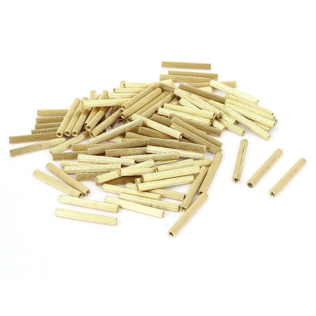 100 Pcs Female Threaded Pillars Brass Standoff Spacer Gold Tone M2x24mm