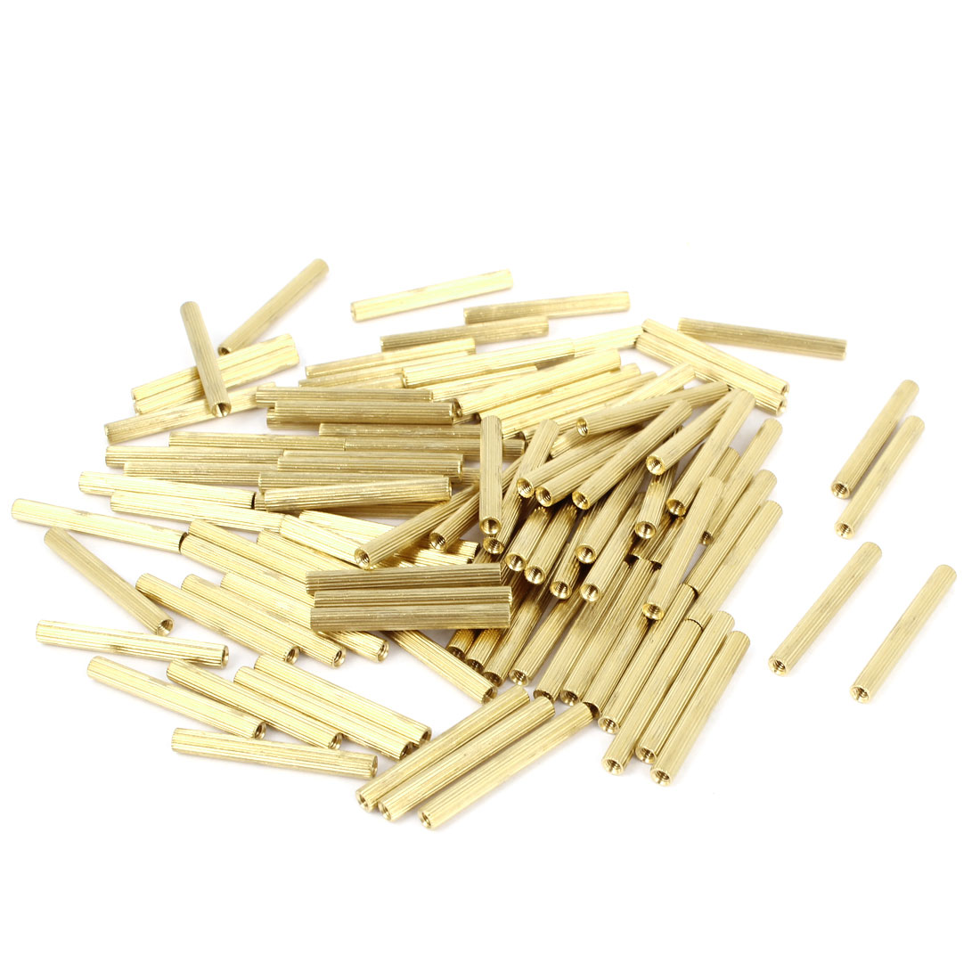 100 Pcs Female Threaded Pillars Brass Standoff Spacer Gold Tone M2x26mm