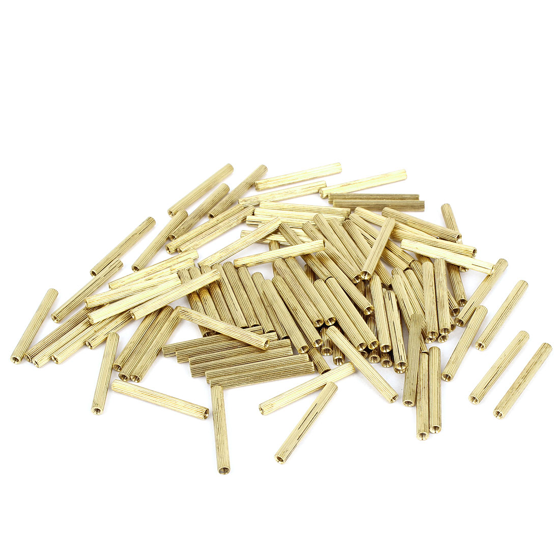 100 Pcs Female Threaded Pillars Brass Standoff Spacer Gold Tone M2x27mm