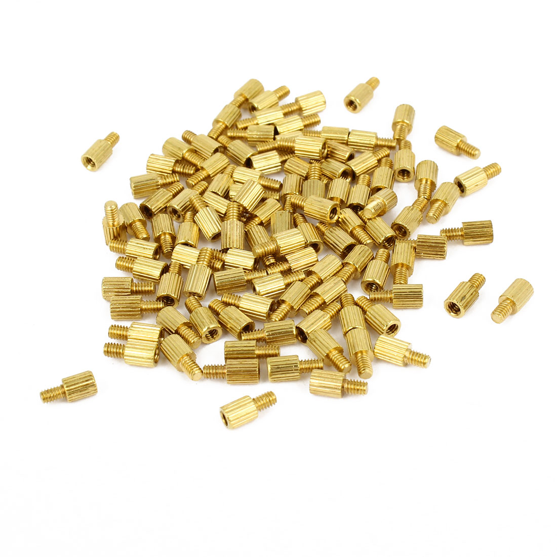 100 Pcs M2 Female Thread Cylindrical Brass Stand-off Support M2x4mm
