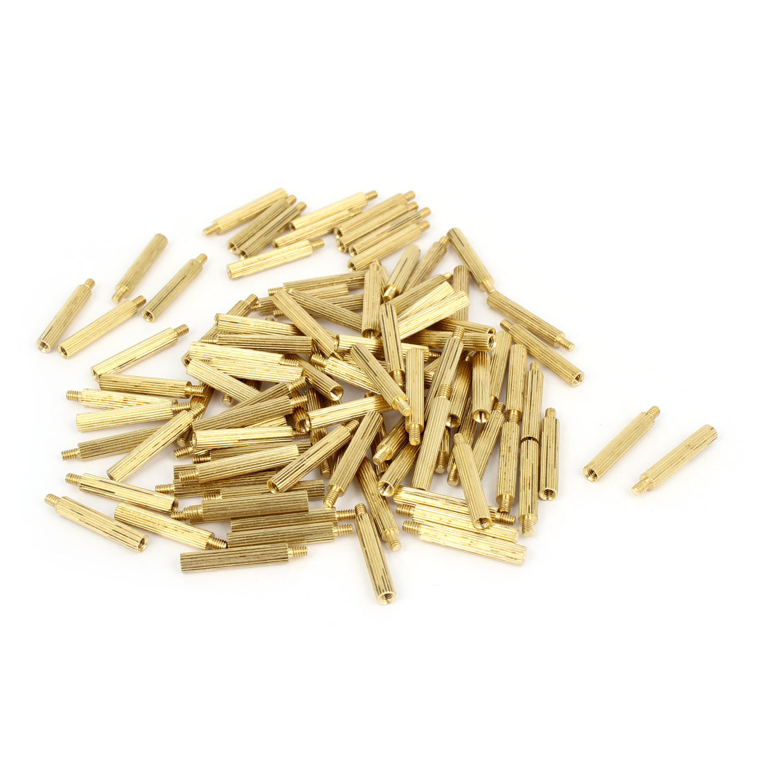 100 Pcs Male to Female Screw Brass Pillars Standoff Spacer M2x17mmx20mm