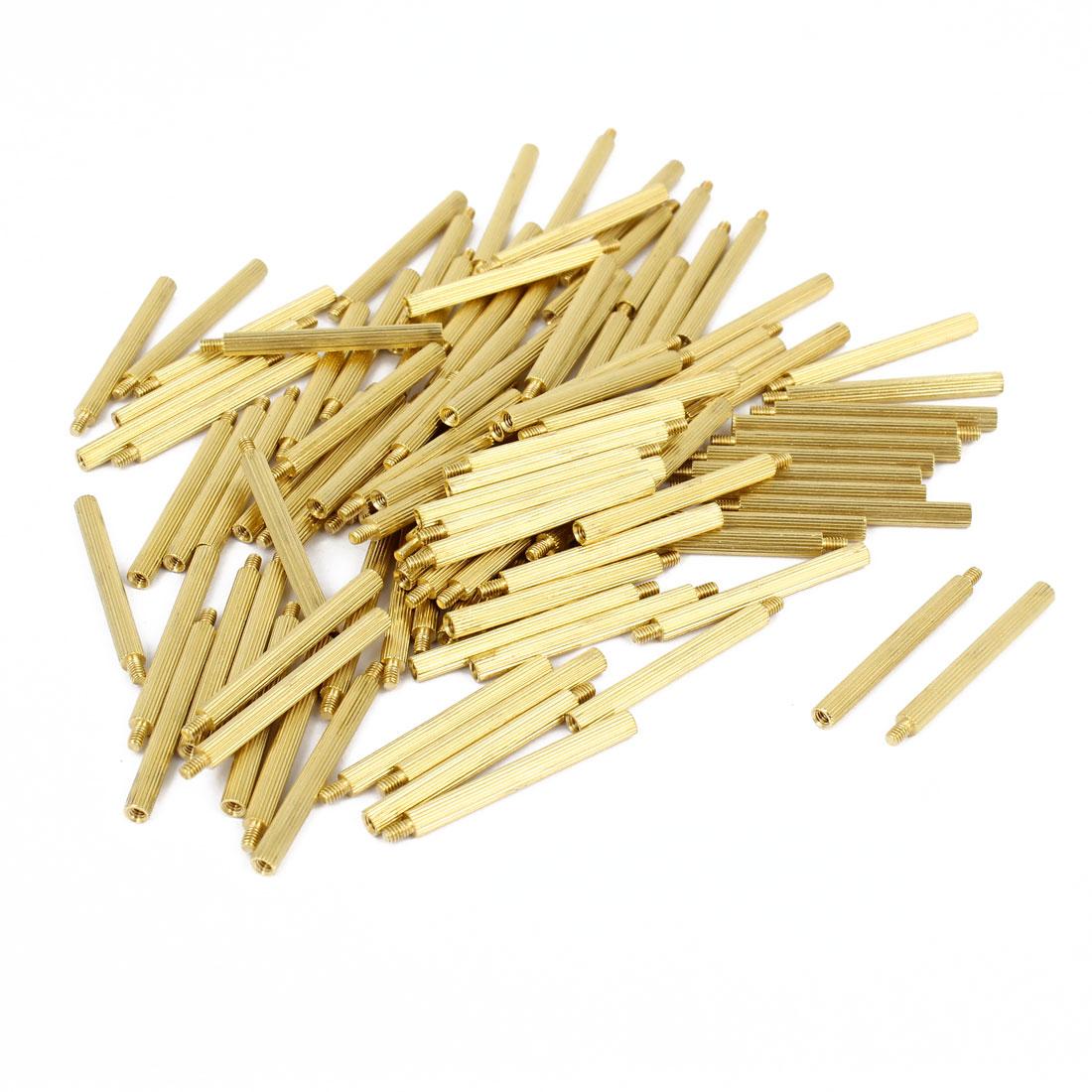 100 Pcs Male to Female Screw Brass Pillars Standoff Spacer M2x29mmx32mm