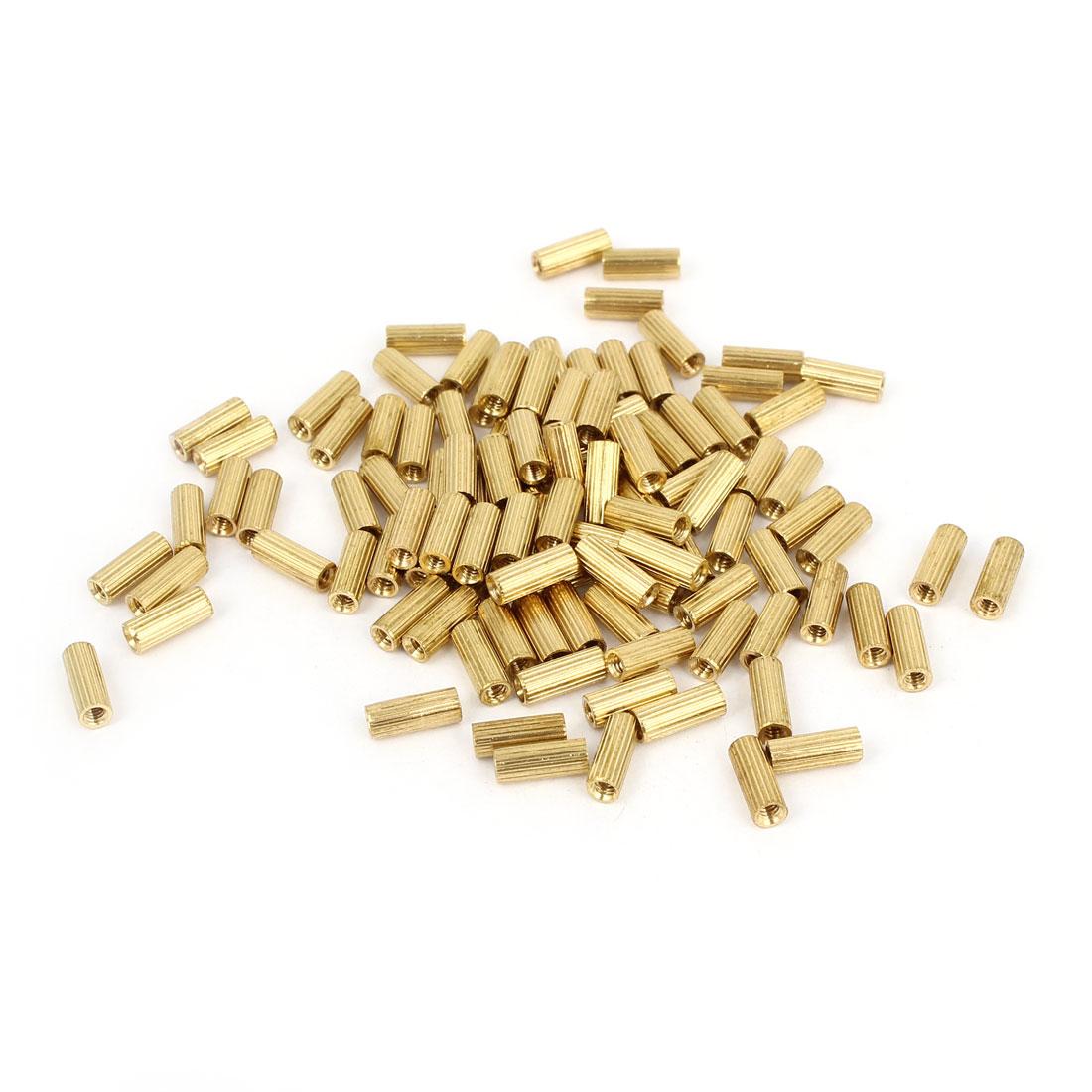 Brass Female Threaded Pillars Standoff Spacer Gold Tone M2x8mm 100 Pcs