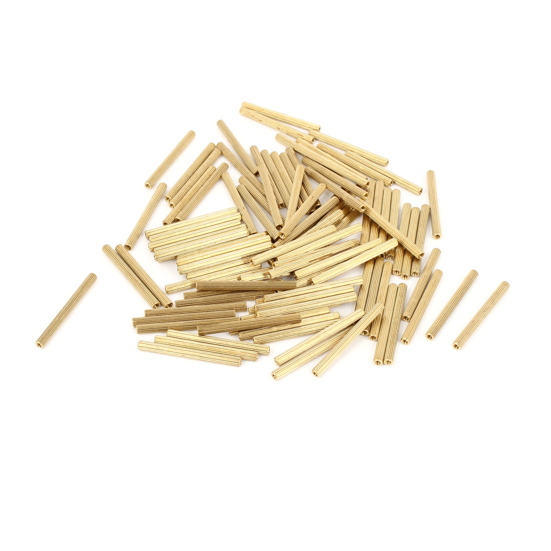 100 Pcs Female Threaded Pillars Brass Standoff Spacer Gold Tone M2x34mm
