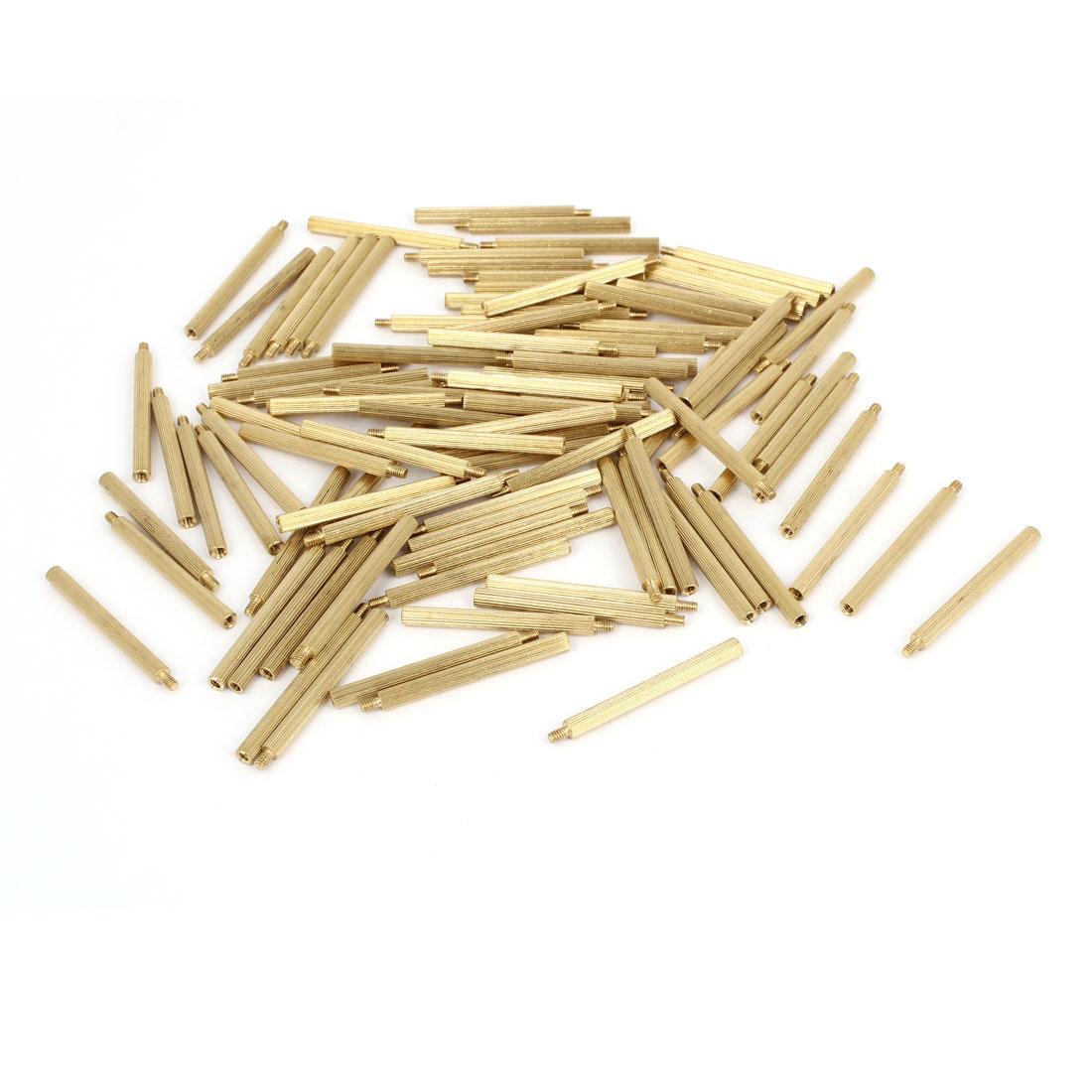 100 Pcs Male to Female Screw Brass Pillars Standoff Spacer M2x31mmx34mm