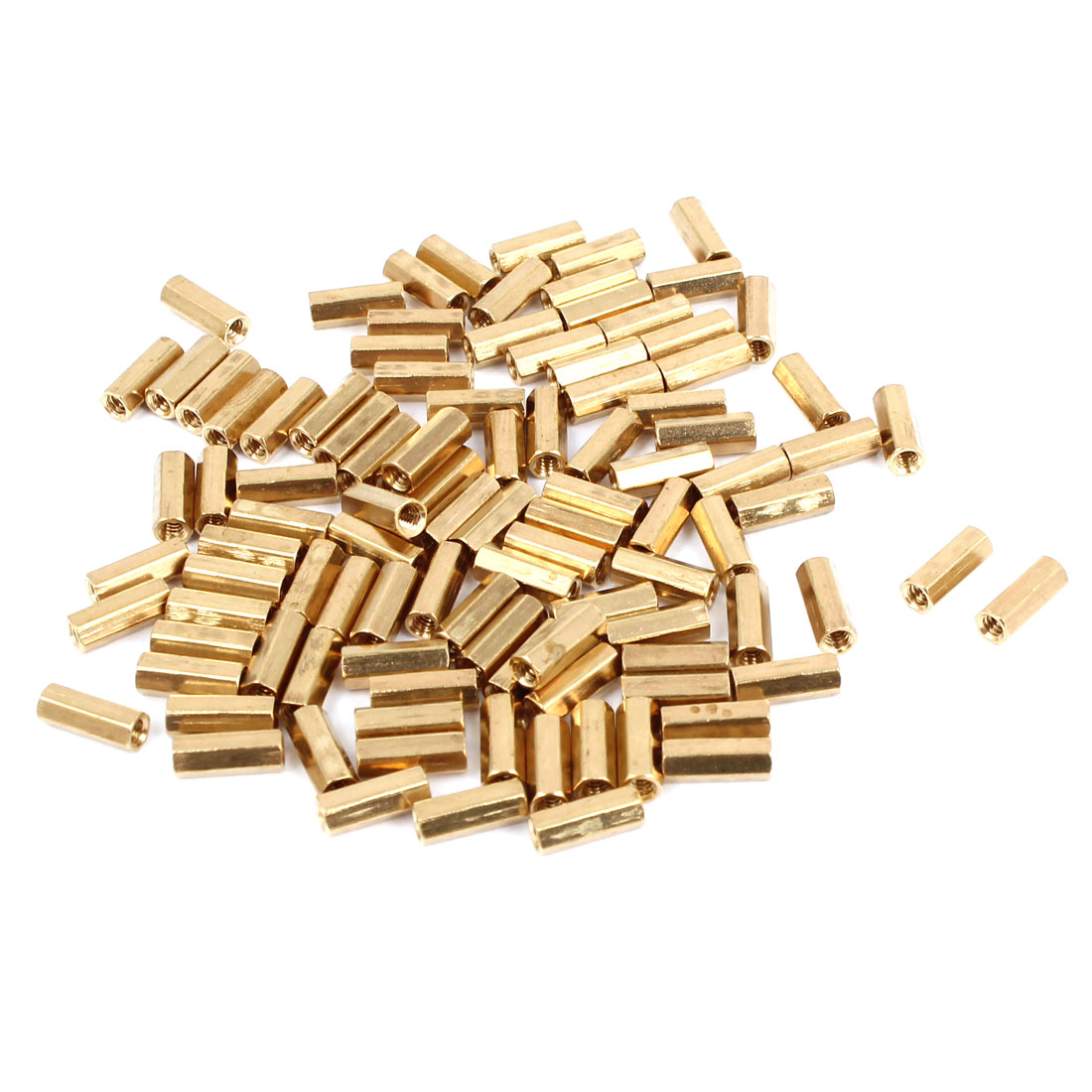 100 Pcs M2 Female Thread Brass Pillar Standoff Hexagonal Spacer 8mm Length