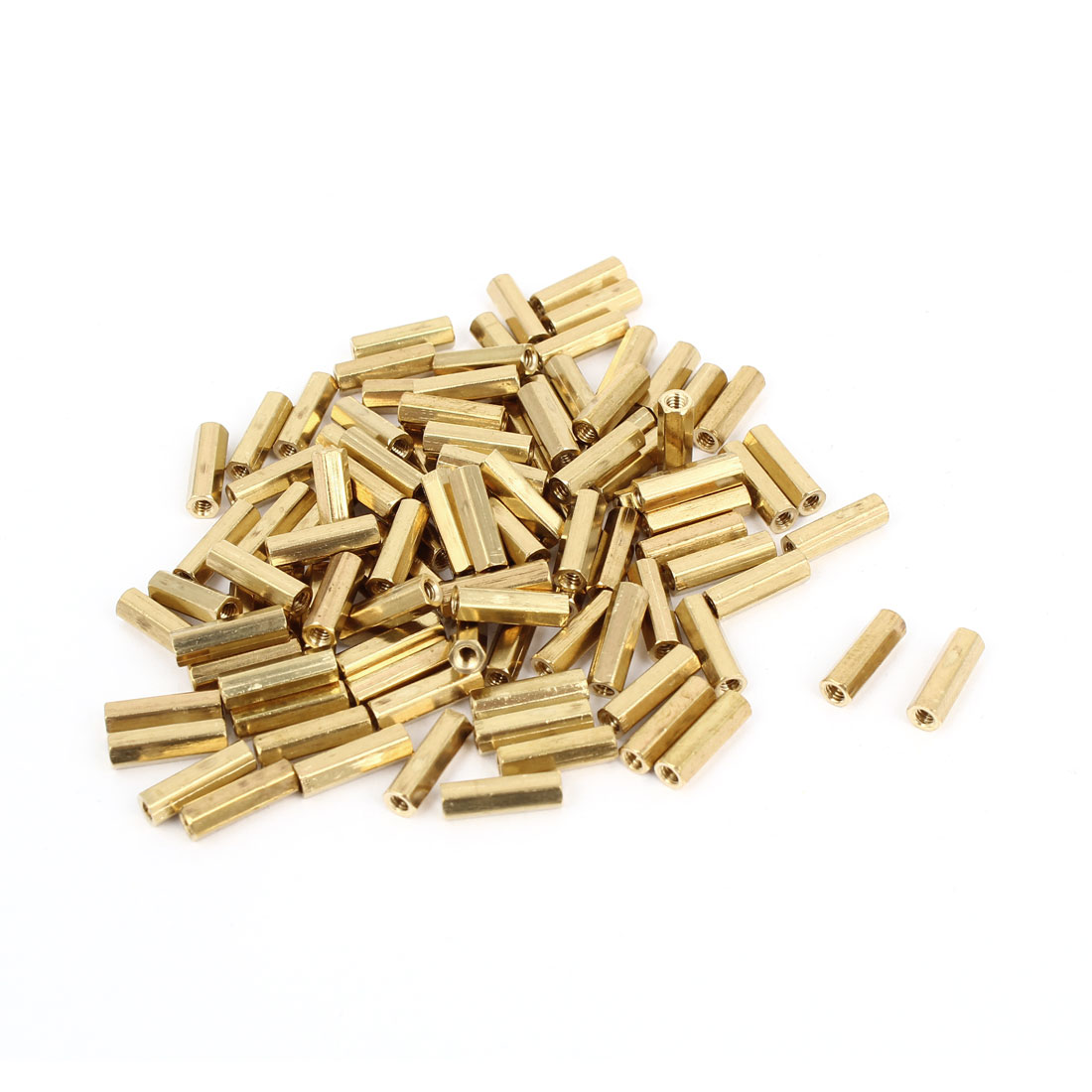 100 Pcs M2 x 10mm Gold Tone Dual Ends CCTV Camera Standoff Hexagonal Nut Spacer
