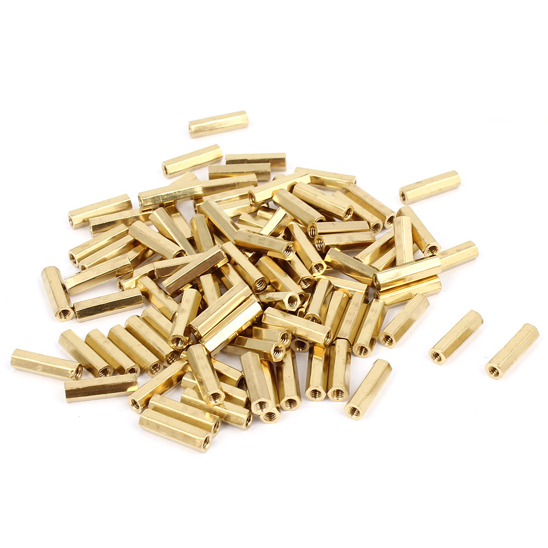 100 Pcs M2 Female Thread Brass Pillar Standoff Hexagonal Spacer 11mm Length