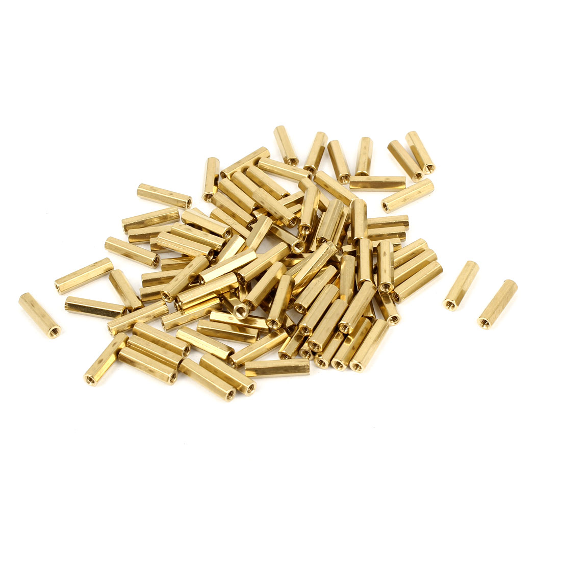 100 Pcs M2 Female Thread Brass Pillar Standoff Hexagonal Spacer 12mm Length
