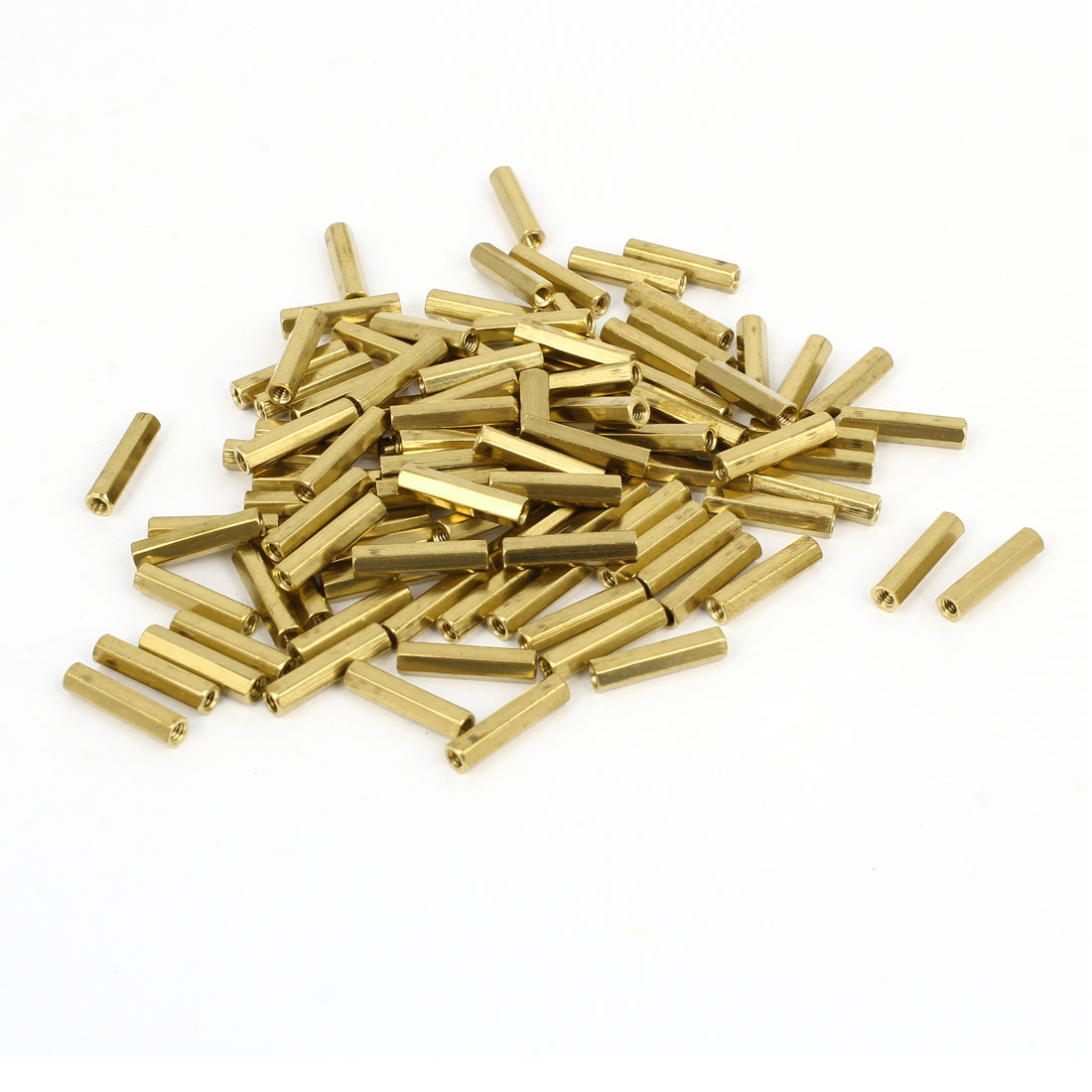 100 Pcs M2 x 13mm Gold Tone Dual Ends CCTV Camera Standoff Hexagonal Nut Spacer