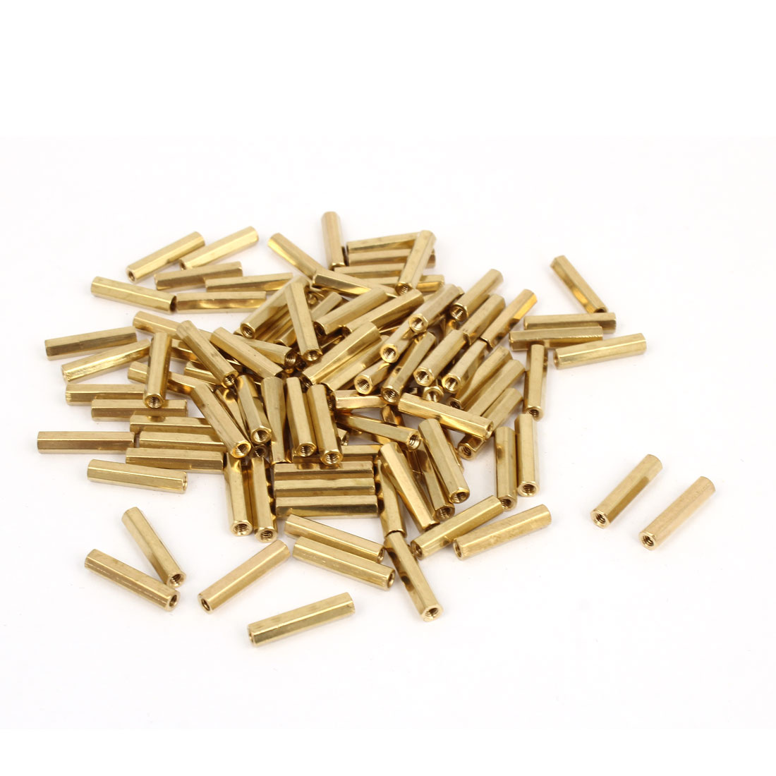 100 Pcs M2 x 14mm Gold Tone Dual Ends CCTV Camera Standoff Hexagonal Nut Spacer