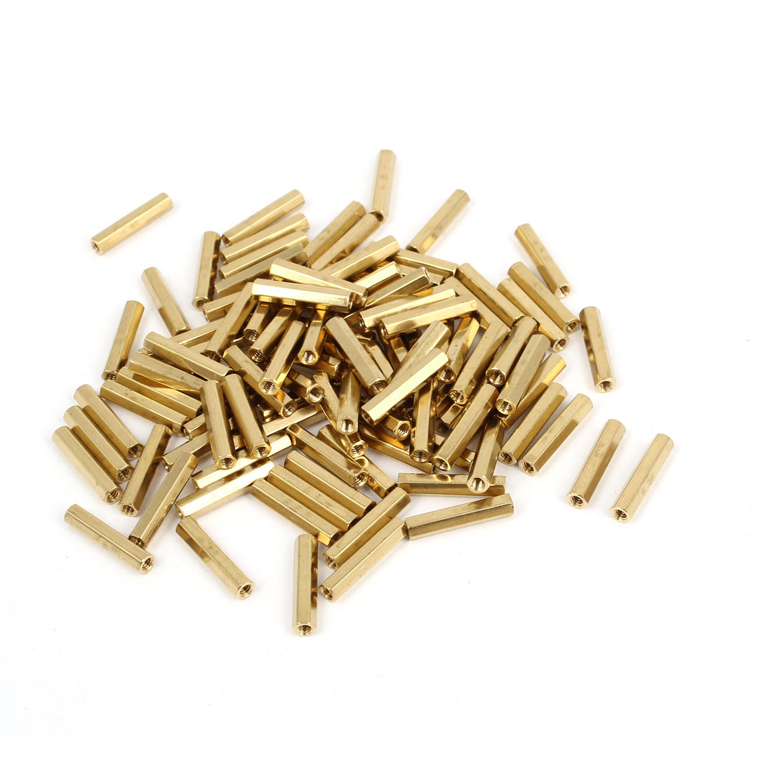 100 Pcs M2 Female Thread Brass Pillar Standoff Hexagonal Spacer 15mm Length