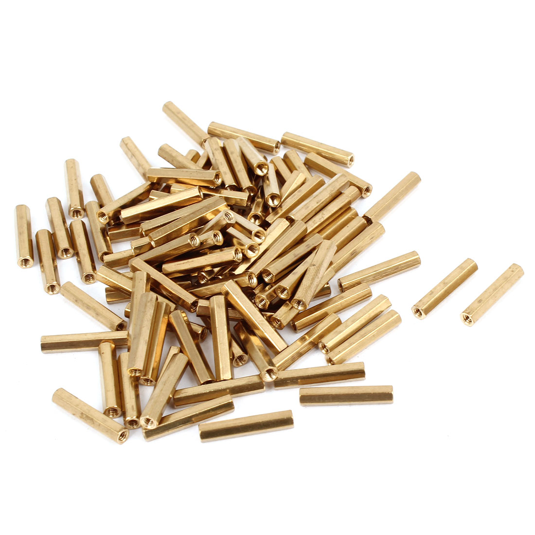100 Pcs M2 x 16mm Gold Tone Dual Ends CCTV Camera Standoff Hexagonal Nut Spacer