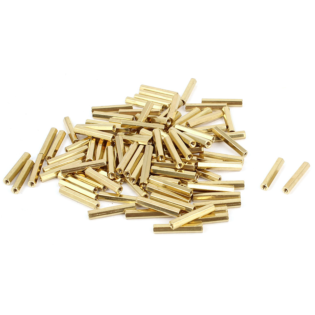 100 Pcs M2 Female Thread Brass Pillar Standoff Hexagonal Spacer 17mm Length