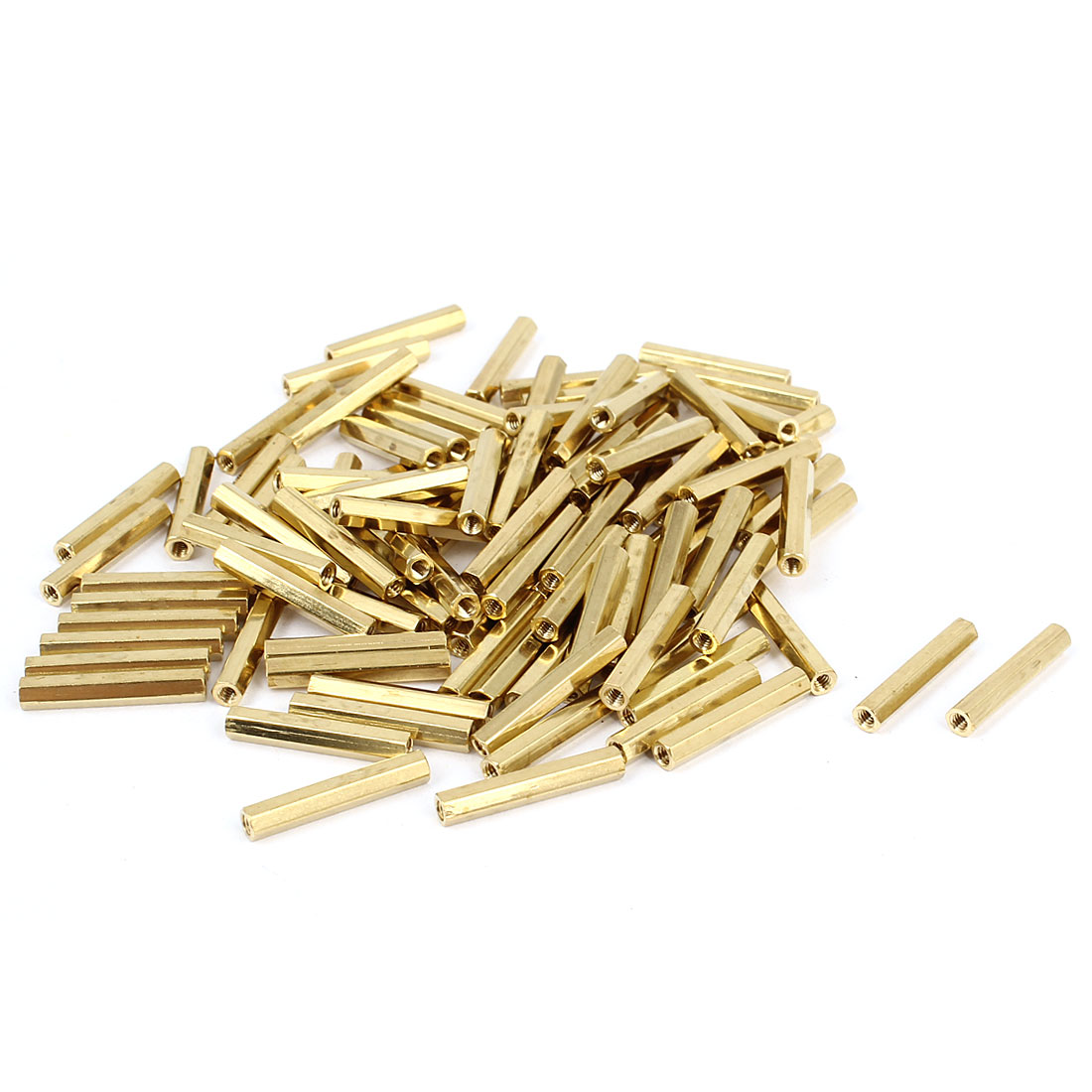 100 Pcs M2 x 18mm Gold Tone Dual Ends CCTV Camera Standoff Hexagonal Nut Spacer