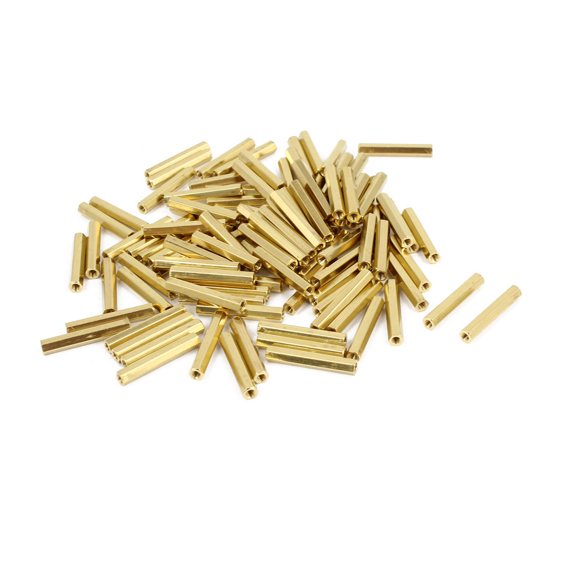 100 Pcs M2 Female Thread Brass Pillar Standoff Hexagonal Spacer 19mm Length