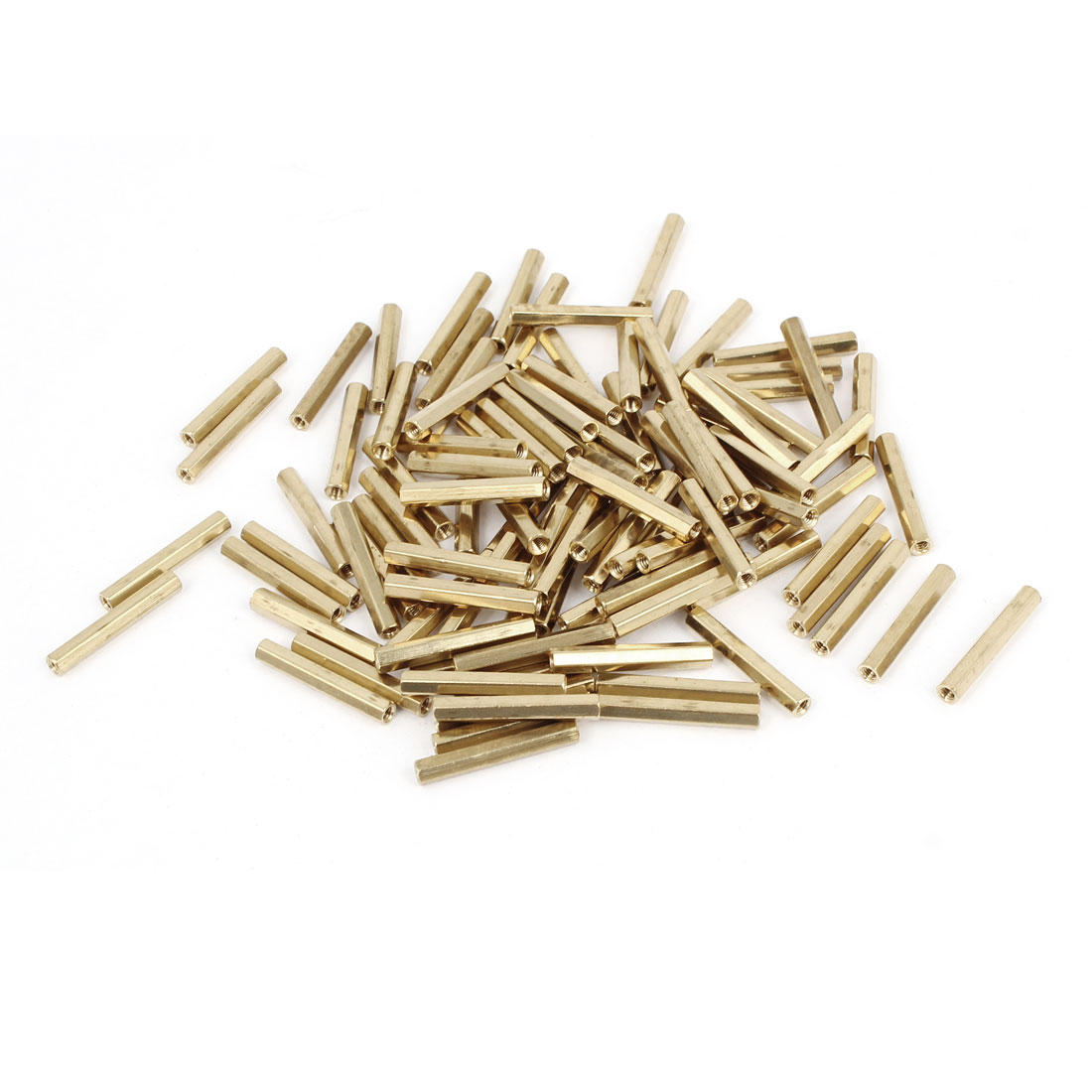 100 Pcs M2 x 20mm Gold Tone Dual Ends CCTV Camera Standoff Hexagonal Nut Spacer
