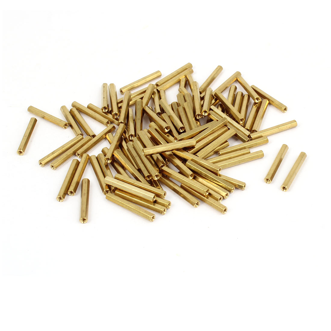 100 Pcs M2 x 22mm Gold Tone Dual Ends CCTV Camera Standoff Hexagonal Nut Spacer