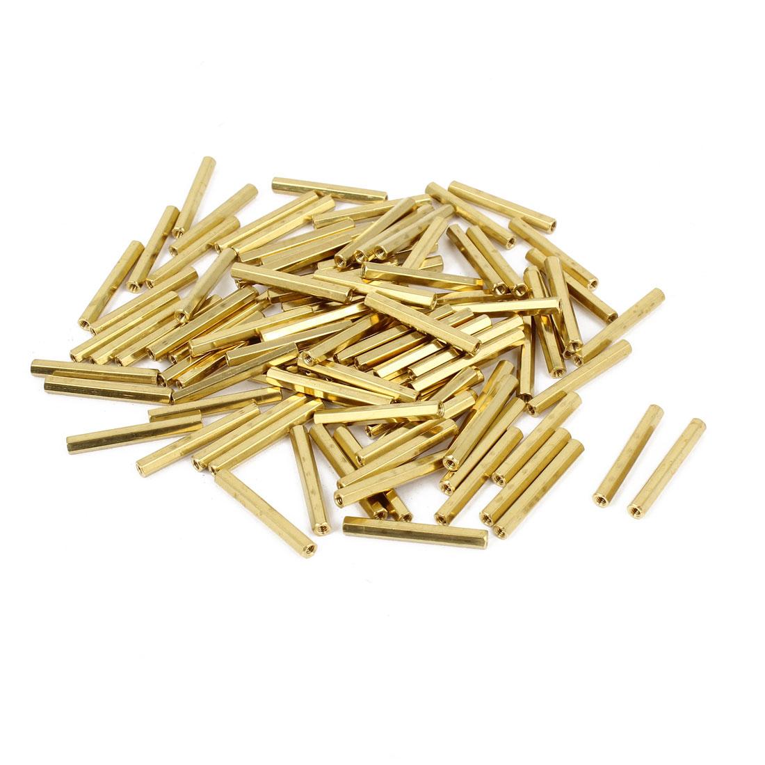 100 Pcs M2 Female Thread Brass Pillar Standoff Hexagonal Spacer 24mm Length
