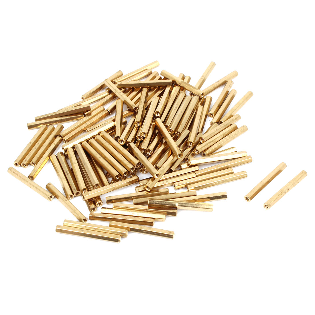 100 Pcs M2 Female Thread Brass Pillar Standoff Hexagonal Spacer 26mm Length