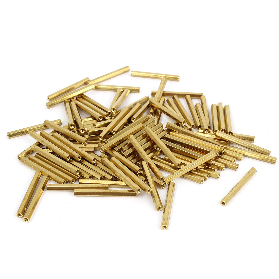 100 Pcs M2 Female Thread Brass Pillar Standoff Hexagonal Spacer 28mm Length