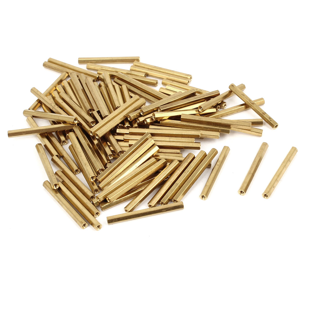 100 Pcs M2 Female Thread Brass Pillar Standoff Hexagonal Spacer 30mm Length