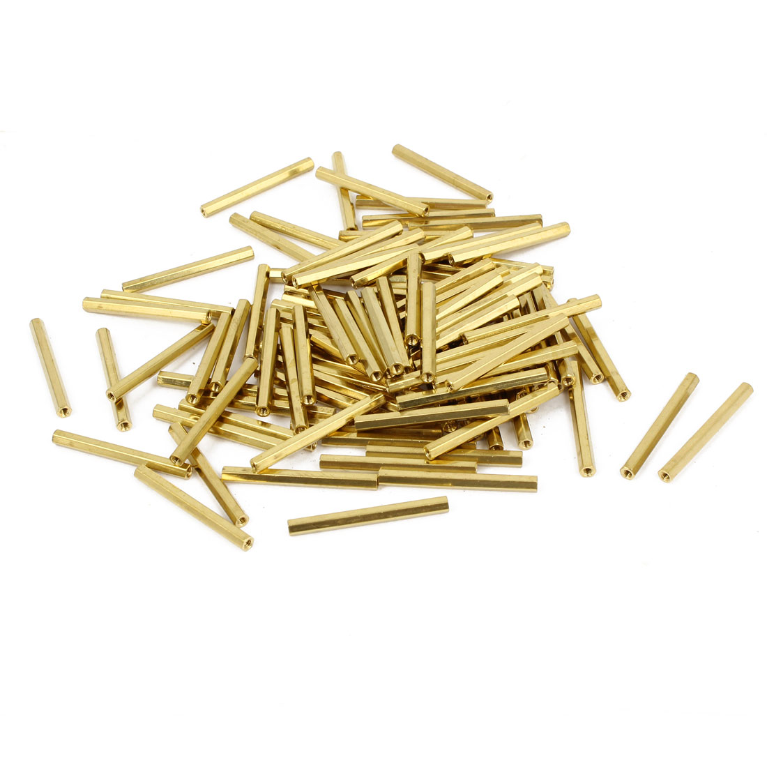 100 Pcs M2 Female Thread Brass Pillar Standoff Hexagonal Spacer 31mm Length