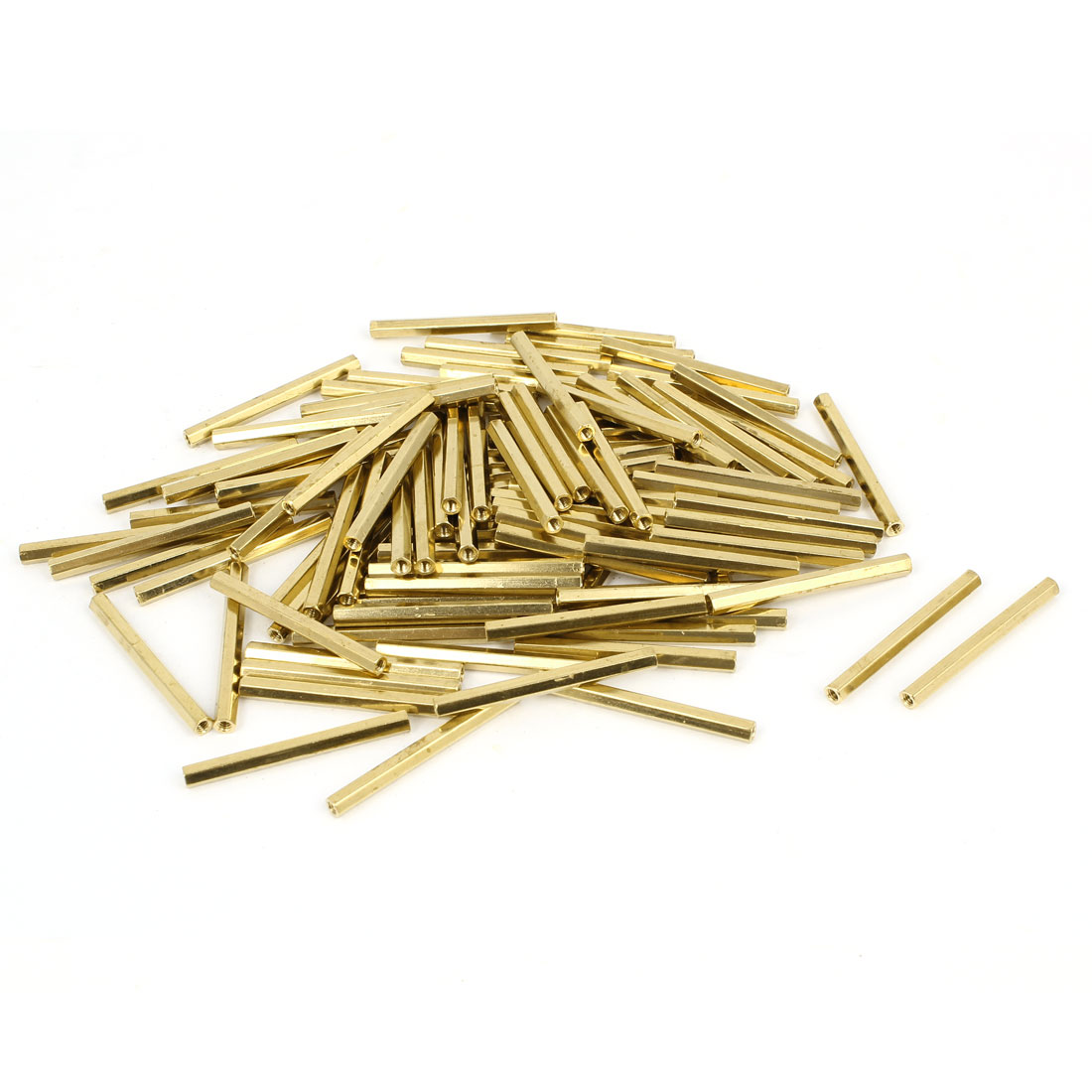 100 Pcs M2 Female Thread Brass Pillar Standoff Hexagonal Spacer 32mm Length