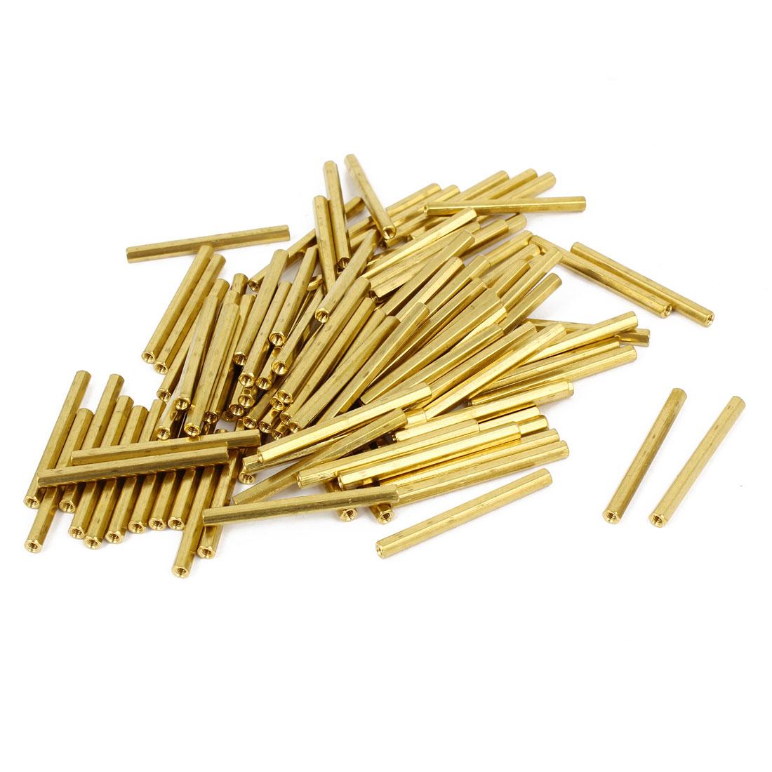 100 Pcs M2 Female Thread Brass Pillar Standoff Hexagonal Spacer 33mm Length