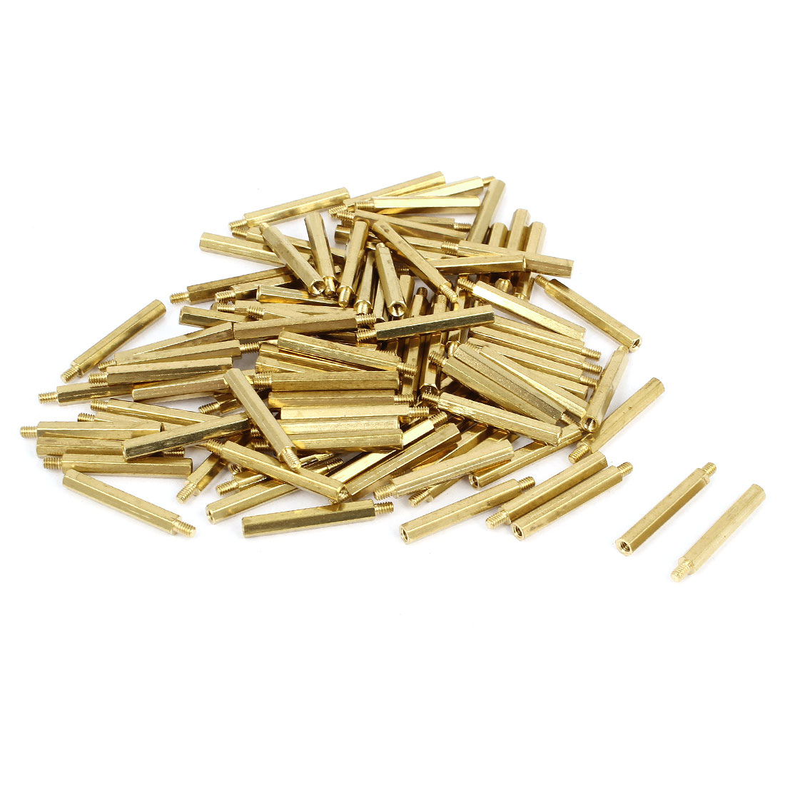 100 Pcs M2x20 Brass Column Male Hexagon Stand-off Spacers 3mm Thread Length