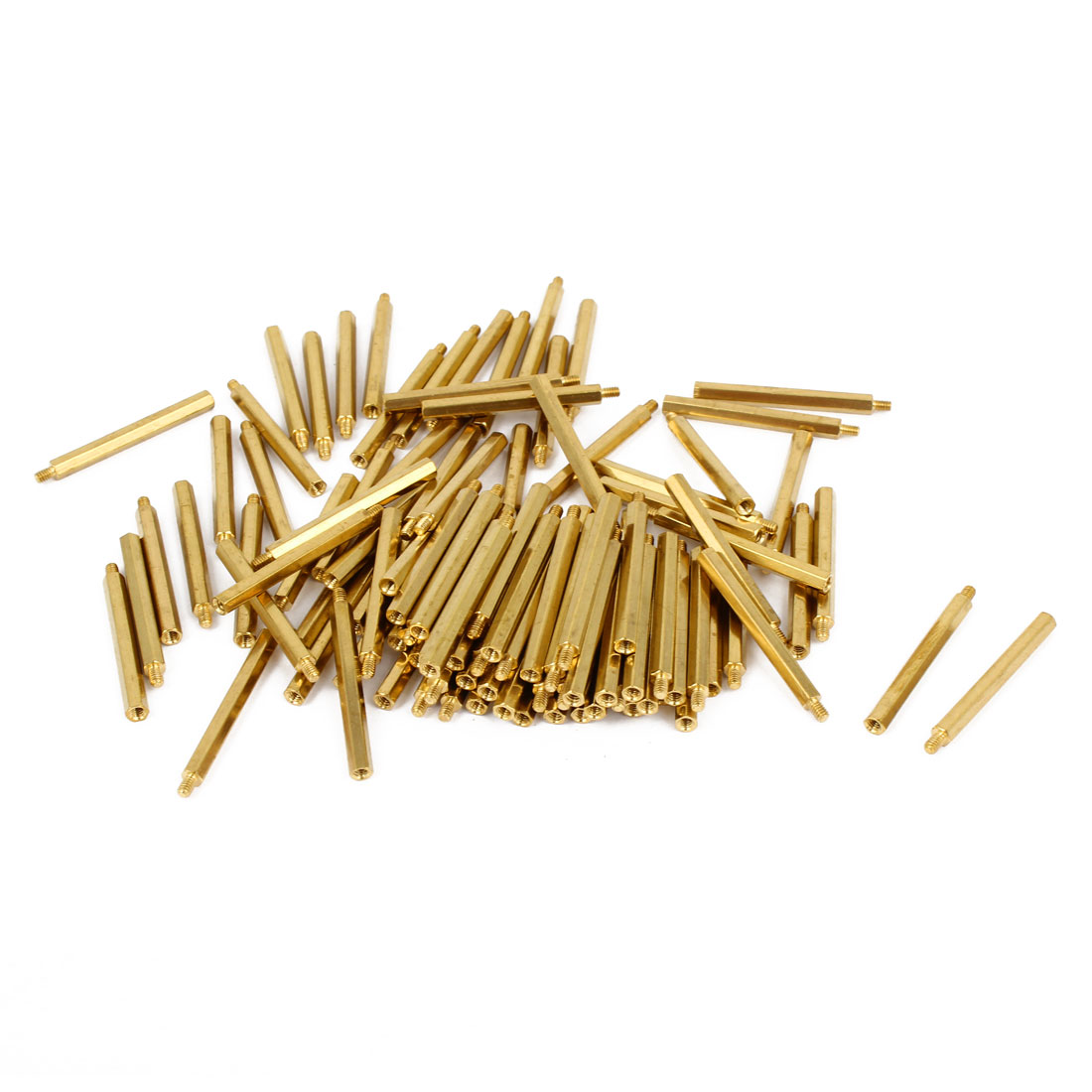 100 Pcs M2x28 Brass Column Male Hexagon Stand-off Spacers 3mm Thread Length