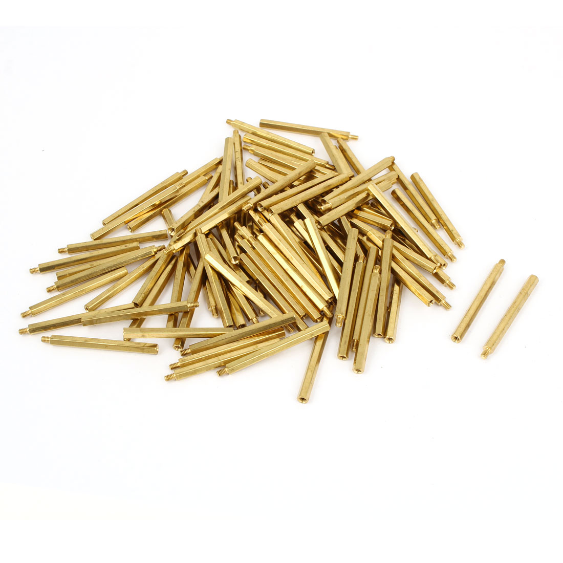 100 Pcs M2x31 Brass Column Male Hexagon Stand-off Spacers 3mm Thread Length