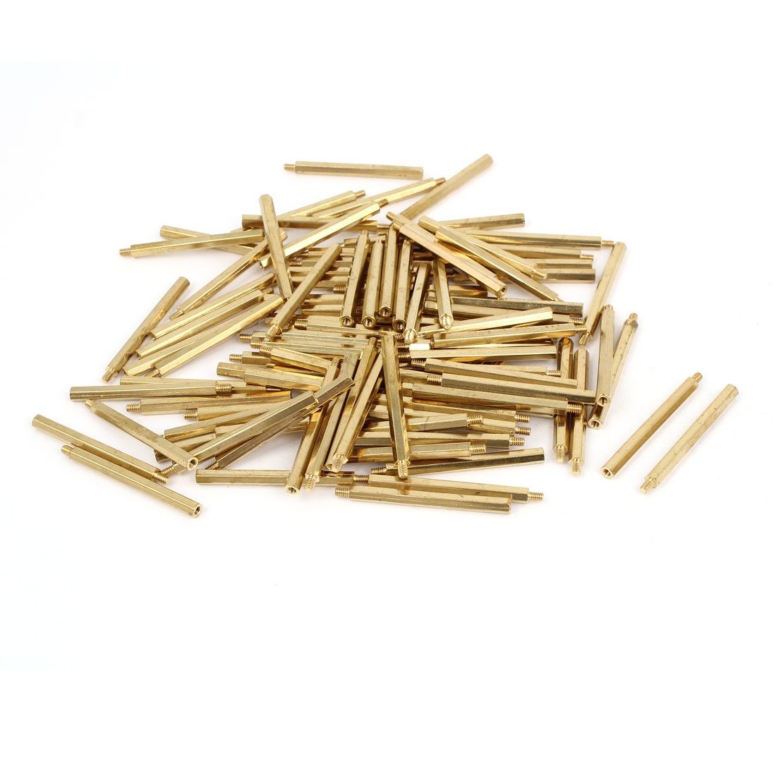 100 Pcs M2x32 Copper Column Male Hexagon Stand-off Spacers 3mm Thread Length