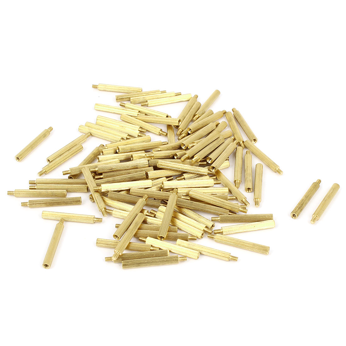 100 Pcs M2x21 Knurled Monitoring Column Brass Cylinder Copper Pillars