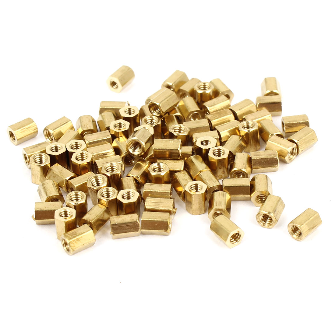 100 Pcs M2 Female Thread Brass Pillar Standoff Hexagonal Spacer 4mm Length