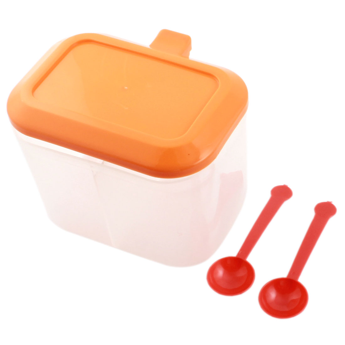 Orange Clear White Plastic Condiment Dispenser Holder 2 Compartments Spices Container Box