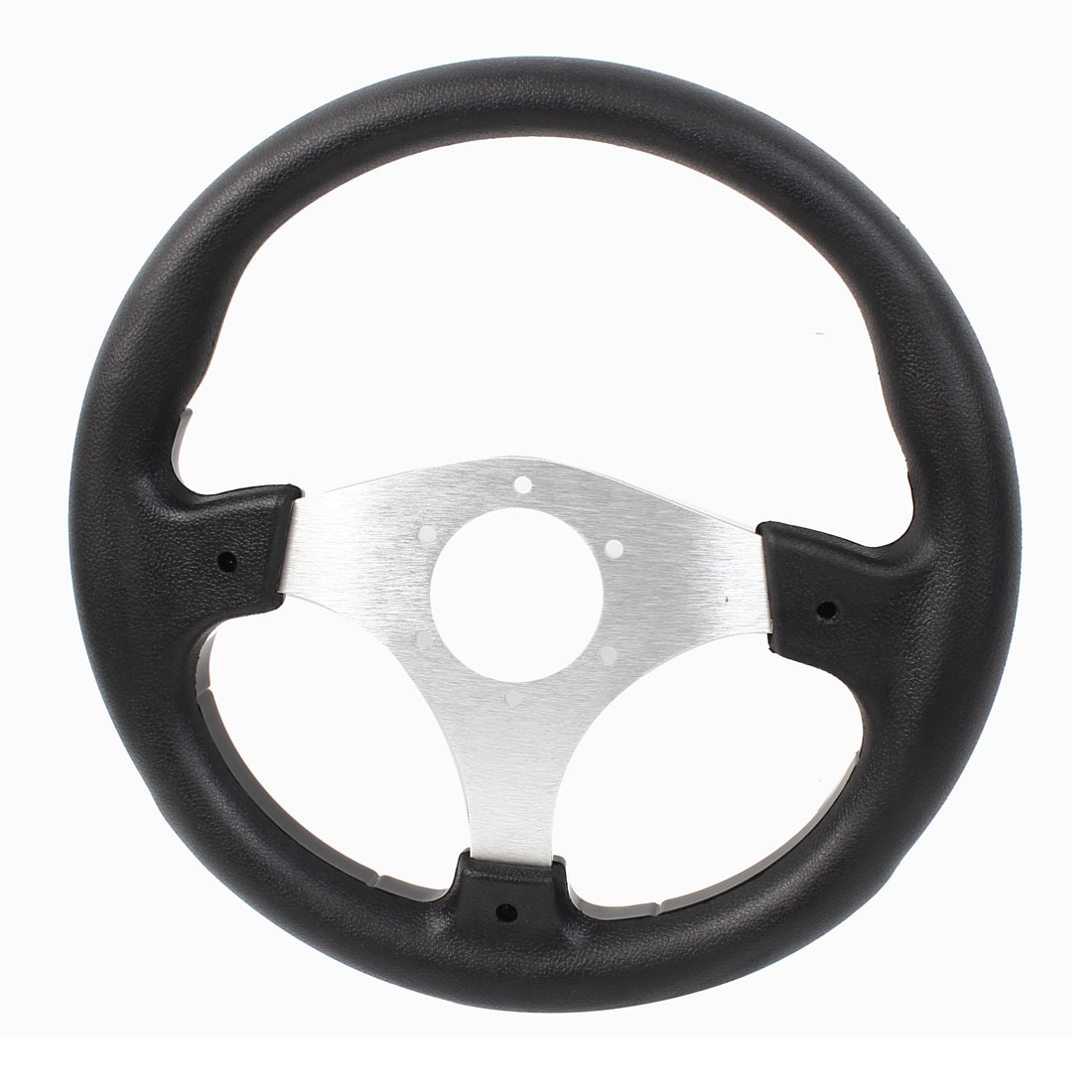 32cm Dia Black Faux Leather Plastic Metal Wrapped Steering Wheel for Car