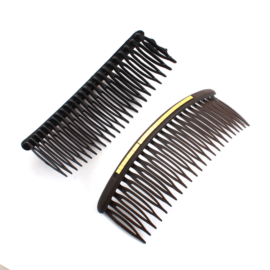 2 Pcs Dark Brown Glittery Gold Tone Square Sheet Decor Plastic Comb Hair Clip for Lady