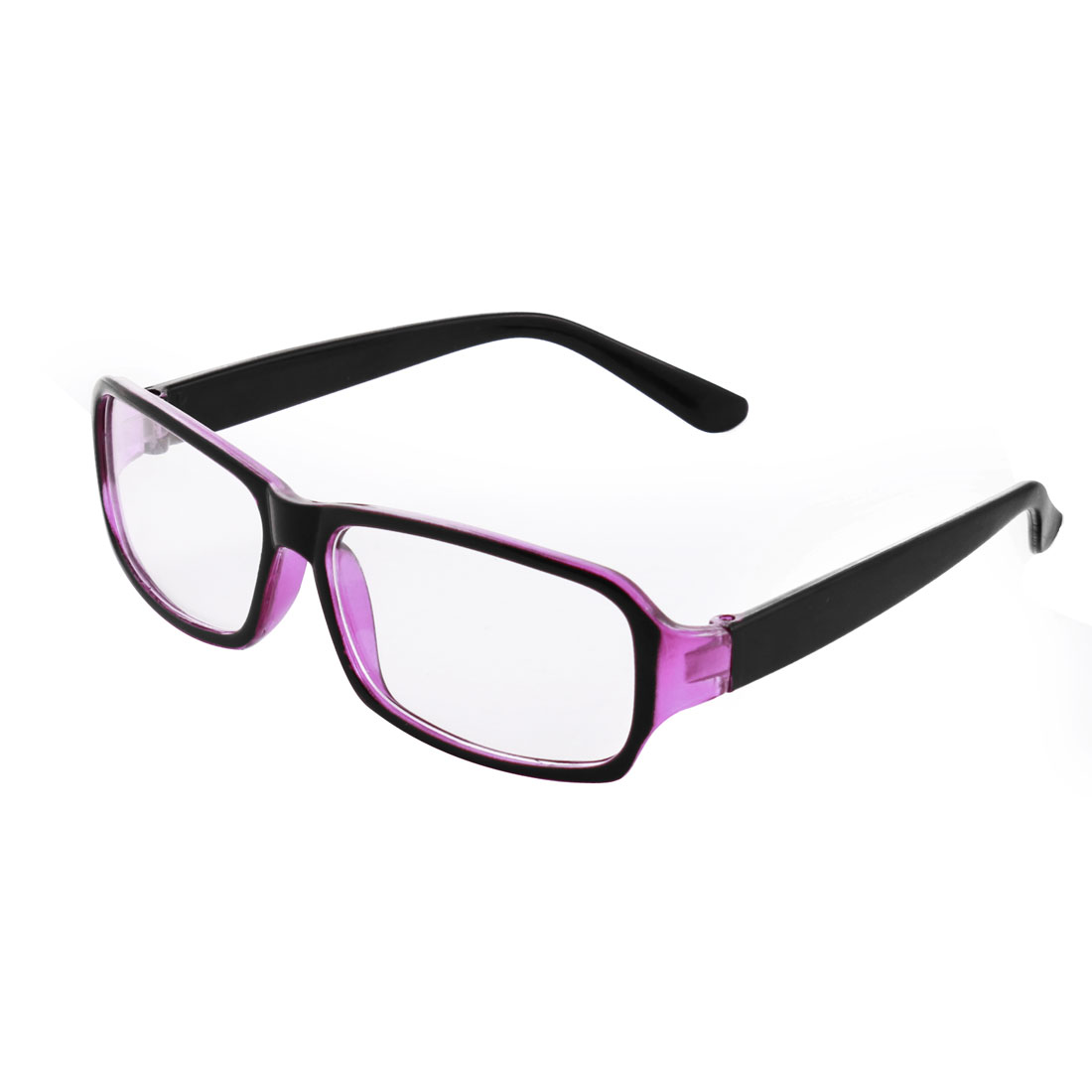 Lady Plastic Single Bridge Clear Lens Plano Glasses Spectacles Black Purple