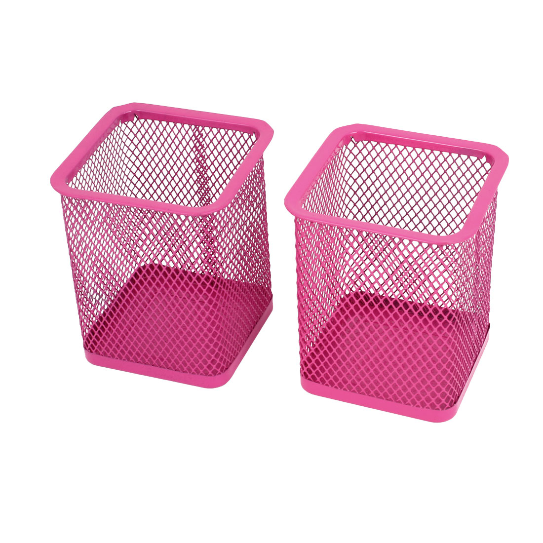 2 Pcs Pink Metal Rectangle Shaped Mesh Pen Pencil Holder Organizer