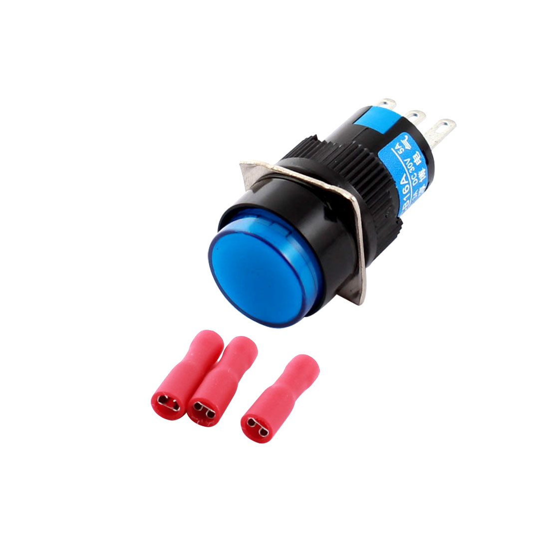 AC 250V 3A DC 30V 5A 3Pins Blue Button 16mm Threaded Panel Mounted SPDT Locking Round Pushbutton Switch + 3pcs Crimp Connectors
